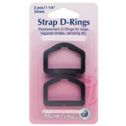 Hemline D-Rings - Black - 32mm